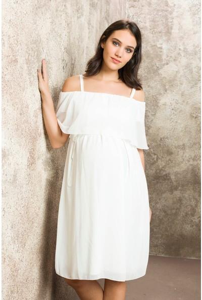 Gör&Sin Casual Hamile Askılı Şifon Elbise Beyaz