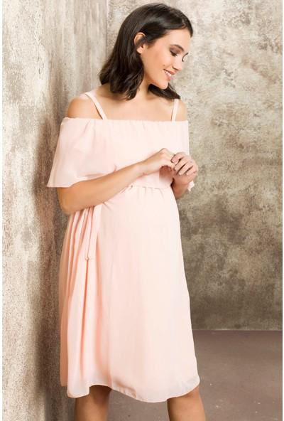 Gör&Sin Casual Hamile Askılı Şifon Elbise Pudra