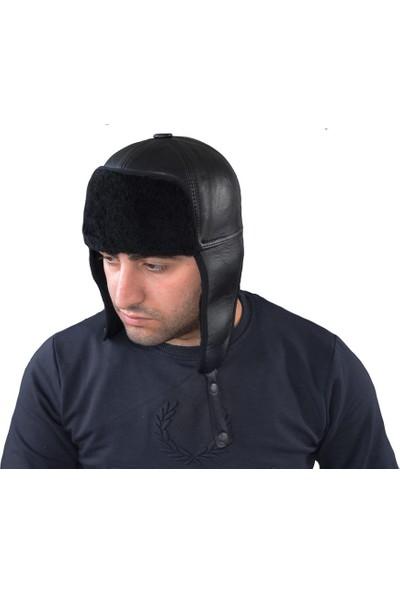 Pozze Deri Pilot Şapka - Kışlık Erkek Deri Şapka