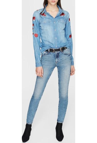 Mavi Isabel Çiçek Nakışlı Indigo Jean Gömlek