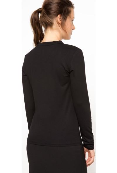 DeFacto Kadın V Yaka Sweatshirt Siyah