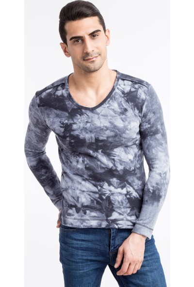 Kiğılı V Yaka Desenli Sweatshirt
