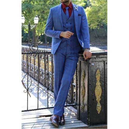 f92a2392399f9 Wessi Tek Düğme Sivri Yaka Yelekli Takım Elbise Mavi Fiyatı