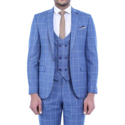 a1f6c2d0c9d56 Wessi Sivri Yaka Tek Düğme Yelekli Takım Elbise Mavi Fiyatı