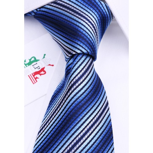 La Pescara Lacivert Beyaz Çizgili Klasik Kravat Çk1068