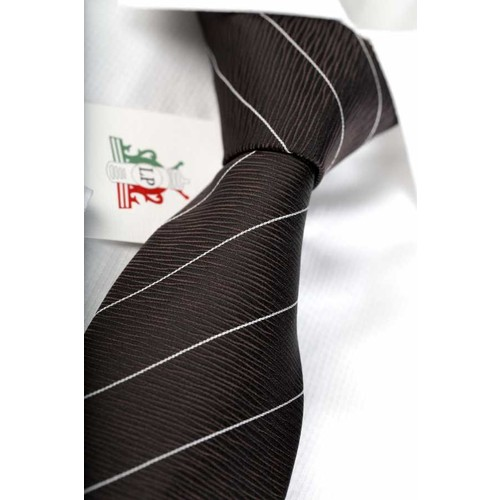 La Pescara Kahve Beyaz Çizgili Klasik Kravat Çk1301