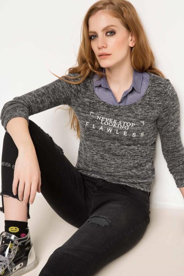 DeFacto Kadın Baskılı Bluz Antrasit