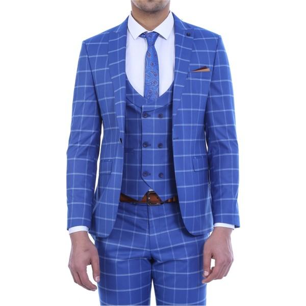 a57cc81e111a0 Wessi Sivri Yaka Tek Düğme Yelekli Takım Elbise Mavi - 46 Fiyatları ...