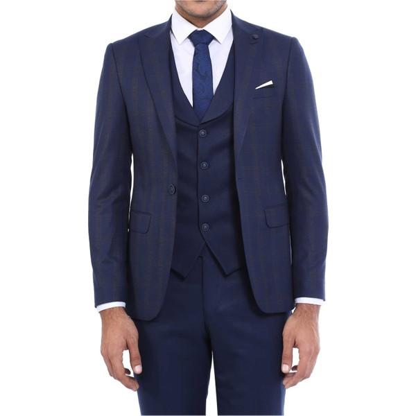 5d2e593f0257e Wessi Sivri Yaka Tek Düğme Çift Yırtmaç Yelekli Takım Elbise - 48 -  Lacivert Ürün Resmi