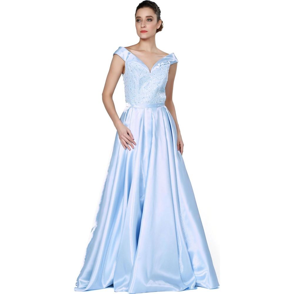 efde7d9ff6aff Pierre Cardin Bebe Mavi Taş İşlemeli Kabarık Abiye Elbise