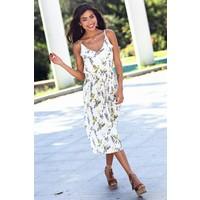 Womenice Çiçek Baskılı Piliseli İnce Askılı Elbise