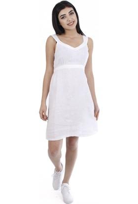 Jimmy Key Leda Kadın Keten Elbise Beyaz Jksıf2204011