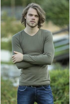 Philip Loren Haki Yeşil Uzun Kol V Yaka T-Shirt WP18A501R03