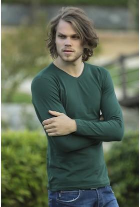 Philip Loren Yeşil Uzun Kol V Yaka T-Shirt WP18A501R05