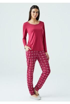 Dagi Kadın Pijama Takımı Bordo