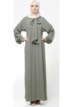 Yaka Detaylı Elbise - Haki - Tuncay