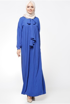 Yaka Detaylı Elbise - Saks - Tuncay