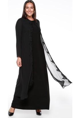 Şifon Güpürlü Abiye Elbise - Siyah - Sevilay Giyim