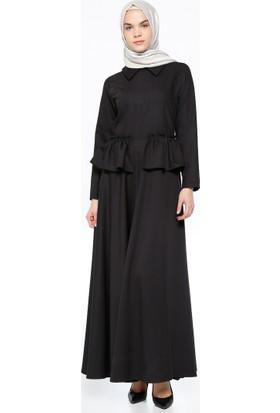 Volan Detaylı Elbise - Siyah - Neways