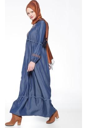 Nakışlı Tensel Elbise - Lacivert - Neways