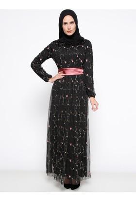 Nakışlı Elbise - Siyah - Bürün