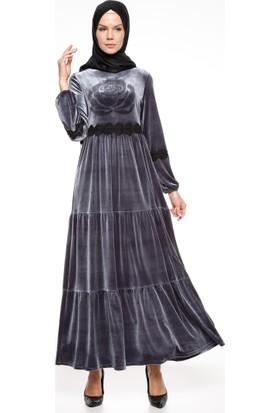Drop Baskılı Elbise - Gri - Ginezza