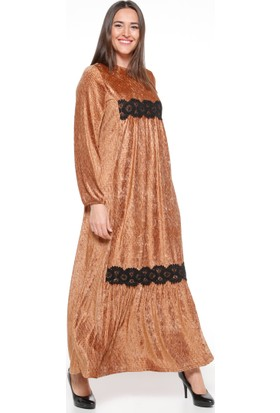 Güpür Detaylı Kadife Elbise - Camel - Ginezza