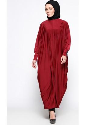 Taş Detaylı Elbise Ferace - Bordo - Ginezza