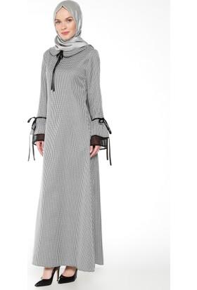 Kazayağı Desenli Elbise - Siyah - Bürün