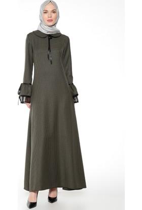 Kazayağı Desenli Elbise - Haki - Bürün