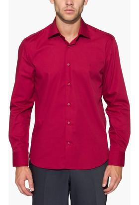 Hateko Dar Kesim Kırmızı Takım Elbise Gömleği