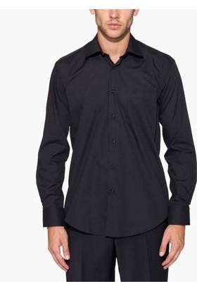 Hateko Siyah Klasik Kesim Takım Elbise Gömleği