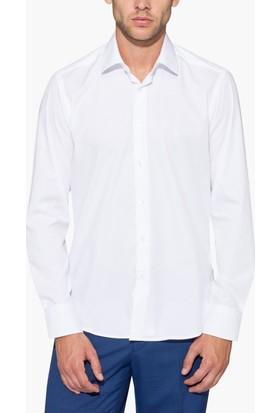 Hateko Dar Kesim Beyaz Takım Elbise Gömleği
