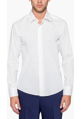 Hateko Dar Kesim Krem Takım Elbise Gömleği