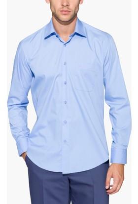 Hateko Klasik Kesim Menekşe Mavisi Takım Elbise Gömleği