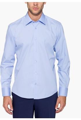 Hateko Dar Kesim Mavi Takım Elbise Gömleği
