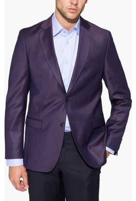 Hateko Altınyıldız Mor Ekoseli & Desenli Slim Fit Yün Erkek Ceket