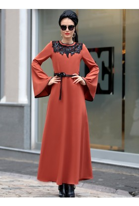 Yaka Detaylı Elbise - Kiremit - Selma Sarı Design