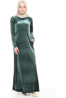 İncili Kadife Elbise - Yeşil - Ginezza