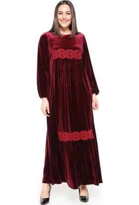 Dantel Detaylı Elbise - Bordo - Ginezza