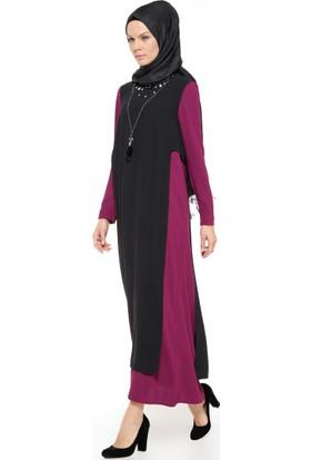 Yaka Detaylı Elbise - Mürdüm - Nihan
