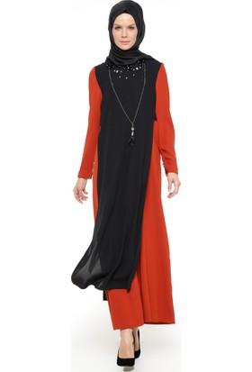 Yaka Detaylı Elbise - Kiremit - Nihan