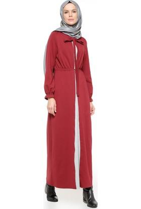 Beli Lastikli Elbise - Bordo - Nihan