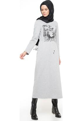 Baskılı Elbise - Gri - Nihan