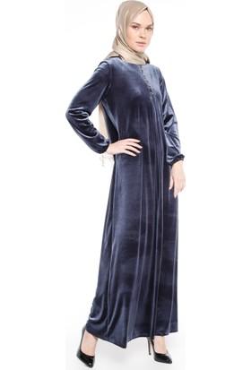 Kadife Elbise - Gri - Ginezza