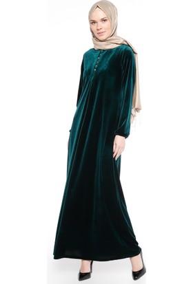 Kadife Elbise - Yeşil - Ginezza