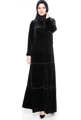Kadife Elbise - Siyah - Ginezza