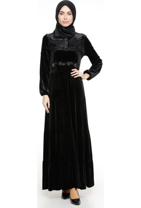 Dantel Detaylı Kadife Elbise - Siyah - Ginezza