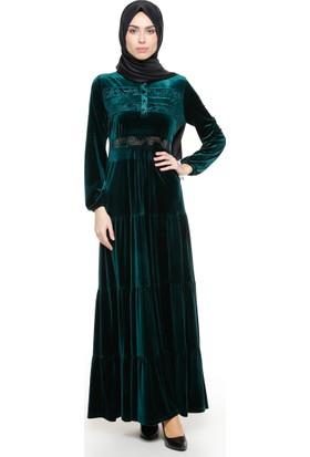 Dantel Detaylı Kadife Elbise - Yeşil - Ginezza