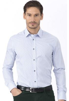 Hemington Desenli Koyu Mavi Business Gömlek